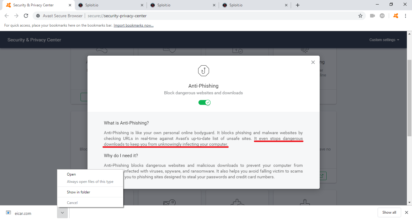 SPUZ : Sploit Check - Avast Browser